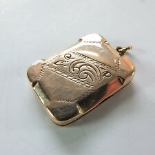 Antique Small Rose Gold Front and Back 9ct F & B Rectangle Photo Locket