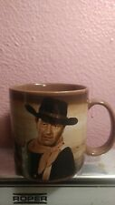 "Vintage VERY RARE JOHN WAYNE MUG ""Out here a man settles his own problems"" Brown"