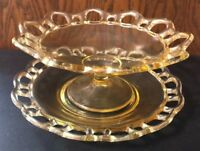 """VINTAGE YELLOW AMBER COMPOTE CANDY DISH WITH MATCHING 9"""" PLATE OPEN LACE DESIGN"""