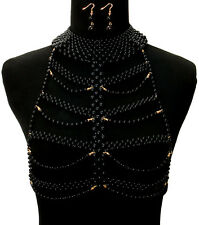 gold black pearl choker necklace earrings collar body chain armor vest