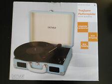 Denver Giradischi Vinile Record Player Portable Retrò Azzurro Vintage