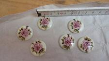 12 Cabochon Steine Brosche Clip rosa Rose 22mm Retro Vintage Schmuckherstellung