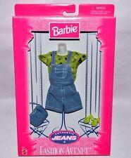 Nib-1998-Barbie Fashion Avenue-Authentic Jeans-Green Top-Jean Jumper-Mules-Purse