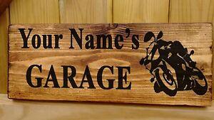 PERSONALISED BIKE NAME SIGN/PLATE Shed Garage Workshop Door Plaque Wood Fun