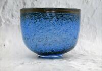 Vintage Not Signed Bertil Vallien (?) Blue Art Glass Bowl