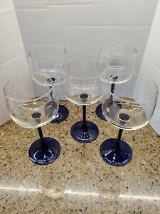 """Azul Cobalto Com Taças De Vinho ~ 8/"""" de altura ~ Frete Grátis ~ Antigo!"""
