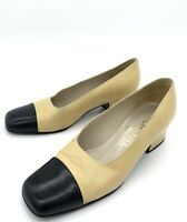 Chanel Vintage Finition Main 2 Tone Beige Black Pumps Heels 36 5.5-6 US