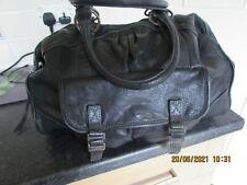 Large Black Faux Leather Handbag Bag Shopper Work Classic Tote Stitching Kitsch