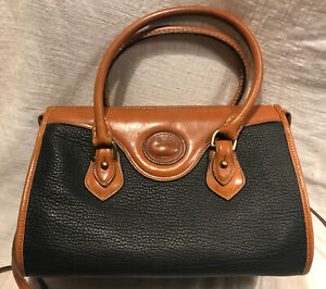 Vintage Dooney & Bourke AWL Crossbody Classic Satchel Black Pebbled Leather EEUC