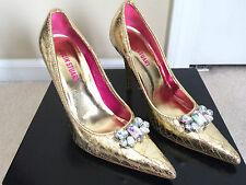 Colin Stuart Gold Metallic Jeweled Pointy Toe High Heel Stiletto Womens Size 7.5