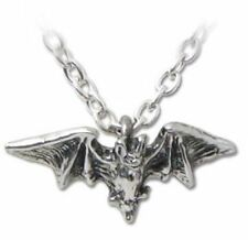 Alchemy Gothic Kiss Of The Night Bat Charm Pendant Necklace Pewter P598