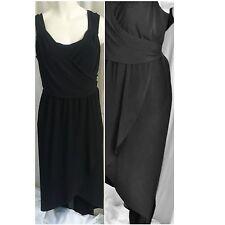 Black Hi-Lo Dress Size 22/24 3X Below knee front Maxi back Draped Sleeveless