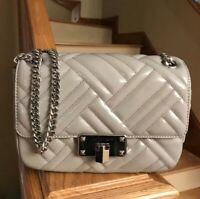 Michael Kors Peyton Medium Quilted Leather MD Shoulder Flap Bag NWT Pearl Grey