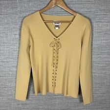 Chicos Womens Lace Front Sweater Golden Tan Long Sleeve Sexy Size Small