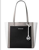 🌺🌹  Michael Kors Gemma Colorblocked Tote Pearl Gray/Optic White/Silver