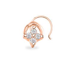 Pin 14K Rose Gold Finish Beautiful Rose Cubic Zirconia Four Stone Women'S Nose