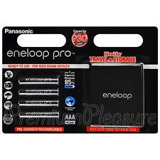 4 x Panasonic Eneloop PRO AAA 930mAh batteries Rechargeable BK-4HCDE Storage box