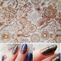 Gold Embossed 3D Nail Art Stickers Rose Flower Decals Stickers Decoration