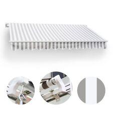 350 x 300 Gelenkarmmarkise Markise grau/weiß mit Handkurbel Sonnenschutz Alu