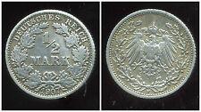 ALLEMAGNE  1/2 mark  1907 F   ARGENT