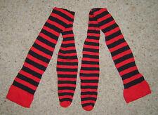 Black & Red Striped Over The Knee Socks Rag Doll Fairy Tale Fancy Dress Costume