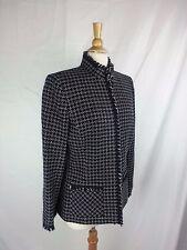Tahari Arthur S. Levine Women's Texture Black & White Acrylic Lined Sz 14 Blazer