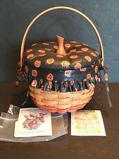 New ListingLongaberger 1996 Small Pumpkin Basket Combo Fabric Lid, Boo Liner, Protector Vtg