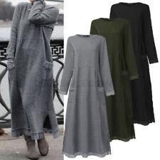 ZANZEA Women Winter Fleece Kaftan Abaya Pullover Long Maxi Sweater Jumper Dress