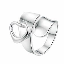 *uk* 925 Silver Plt Adjustable Love Heart Wrap Ring Charm Chunky Band Thumb Gift