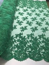 Beaded Fabric - Embroidered Flower Mesh Beads & Sequins Green Emerald By Yard