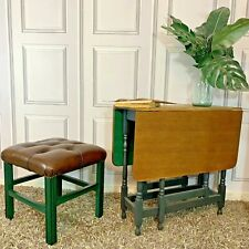 Chesterfield Stool / Footstool Dark Brown Leather Mahogany Wood Painted Green