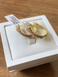 Snake Rhodolite Garnet & White Zircon Yellow Gold Overlay On 925 Sterling Silver