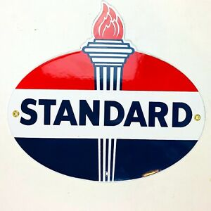 Vintage-StylePorcelain Gasoline Sign Standard Oil Reproduction Retro Man Cave