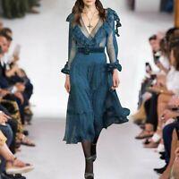 PF  2019 Womens Designer Inspired Luxury Ruffle Polka Dot V Neck