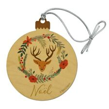 Christmas Noel Deer in Wreath Wood Christmas Tree Holiday Ornament