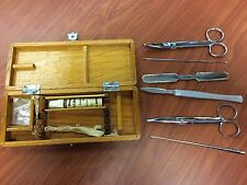 Vintage Hauptner Veterinary Box Supplies - Scissors, Aseptic, Surgical Tools