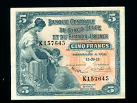 Belgian Congo:P-21,5 Francs, 1953 * Woman W/ Child * AU-UNC *