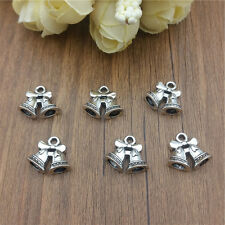 Wholesale 8pcs Christmas bell silver Charm Pendant beaded Jewelry Findings DIY