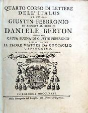 1776 – FRATE FEDELE DA ALBENGA, QUARTO CORSO DI LETTERE DELL'ITALUS – TEOLOGIA