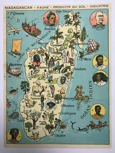 MADAGASCAR NICE PICTORIAL MAP 1930 XXe CENTURY ORIGINAL
