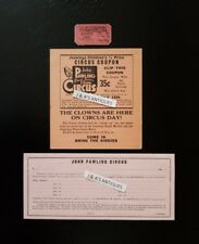 John Pawling Circus ~ 3 Items: Ticket, 1/2 Price Coupon And 1940's Ad Agreement