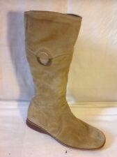 Next Beige Mid Calf Suede Boots Size 38
