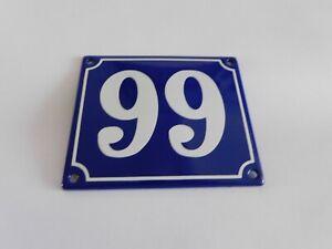 Old French Blue Enamel Porcelain Metal House Door Number Street Sign / Plate 99