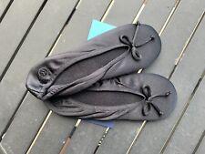 Ladies Isotoner Satin Ballet Slippers BLACK Stretch Soft Sole Sz XL(9.5-10.5)