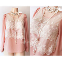 NEW Dusty Blush Pink Ivory Embroidered Scallop Lace Inset Romantic Blouse Top