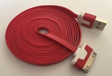 Heavy Duty strong apple iphone 4 4S Ipod Ipad 2 3 USB lead cable flat 3M red