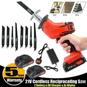 21V Cordless Powerful Reciprocating Saw Wood Metal Cutting w/8 Blades 2 Battery.