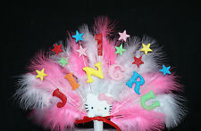 Hello Kitty personalised  name and age  Stars and Feathers Birthday Cake Topper