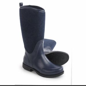 New UGG Size 6 Women's Navy Wool Blend Shearling Footbed REIGNFALL Rain Boot