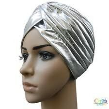 Zac`s AlterEgo Pleated Metallic SILVER Turbans Vintage For Hair Loss Or Fashion